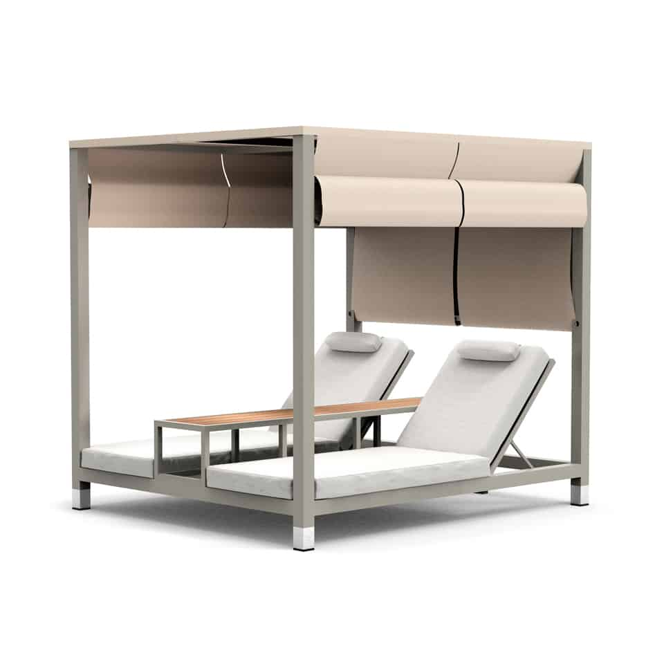 WA1048 AMBER DOUBLE BEACH BED [GREY+WHITE]